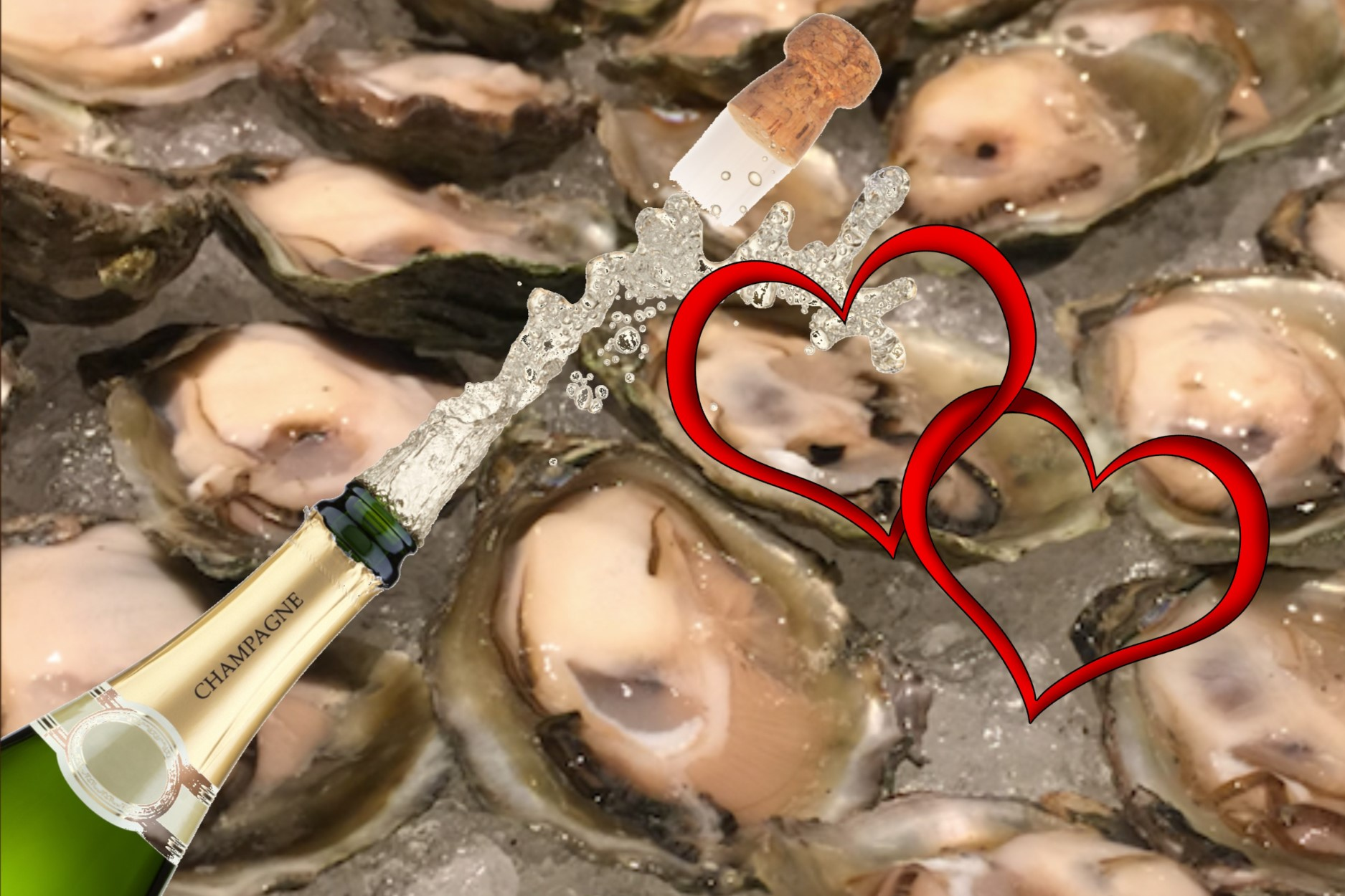 Valentine's Stone Balloon Oysters Bubbly